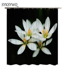 White Magnolia Flower Shower Curtain Bath Waterproof Fabric Cortina Ducha Bathroom SetChina