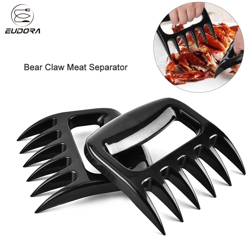 Eudora 2PCs/Set Bear Claws Barbecue Forks Cooked Meat Cutter Chicken Roasting Fork Tearing Separator Kitchen Supplies BBQ Tools