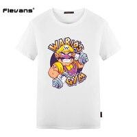 Flevans Nieuwe Mannelijke T-shirt Super Mario Bros Wario Printing T-shirt voor Man 100% Katoen Plus Size Heren T-shirts Tops Korte mouw