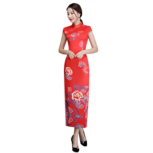 New Arrival Red Novelty Print Flower Elegant Cheongsam Women Sexy Chinese  Style Dress Lady Slim Mandarin 7b12217db732