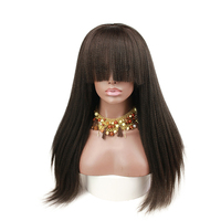 Italian Yaki Straight 150 Density Human Hair Full Lace Wigs Baby Hair Pre Plucked Remy Human Hair Wigs Bangs For Women Eseewigs