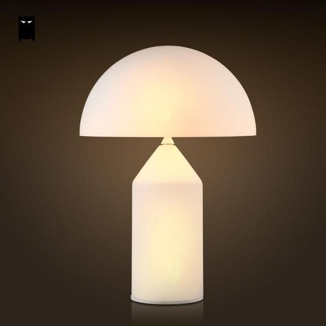 Milky White Glass Mushroom Shade Table Lamp Fixture Nordic Creative Fashion  Art Desk Light Night Stand