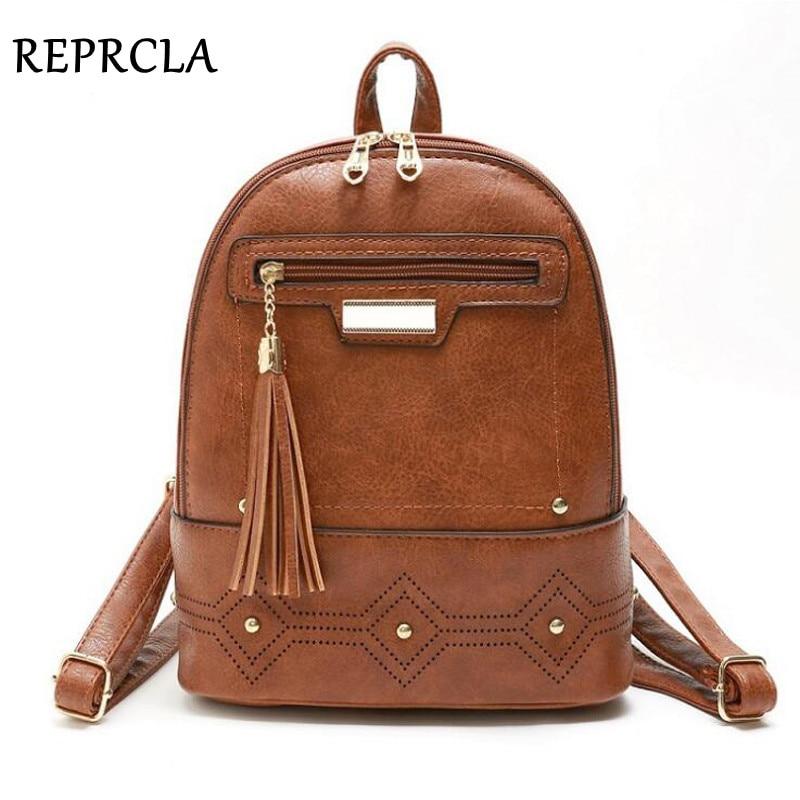 Reprcla Vintage Women Backpack High Quality Leather Backpacks Tassel Bagpack Female Shoulder Bag Mochila Feminina School Bags