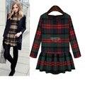 5xl plus tamaño grande ropa vestido 2016 primavera otoño invierno coreano vestidos vestido a cuadros de manga larga delgada femenina A1660