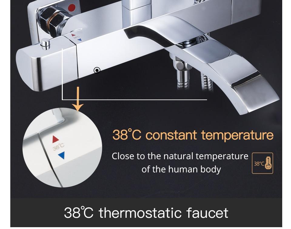 HTB1TF0maFT7gK0jSZFpq6yTkpXaN GAPPO thermostatic shower set rain shower set shower faucet hot and cold Shower faucet Bathtub thermostatic shower mixer