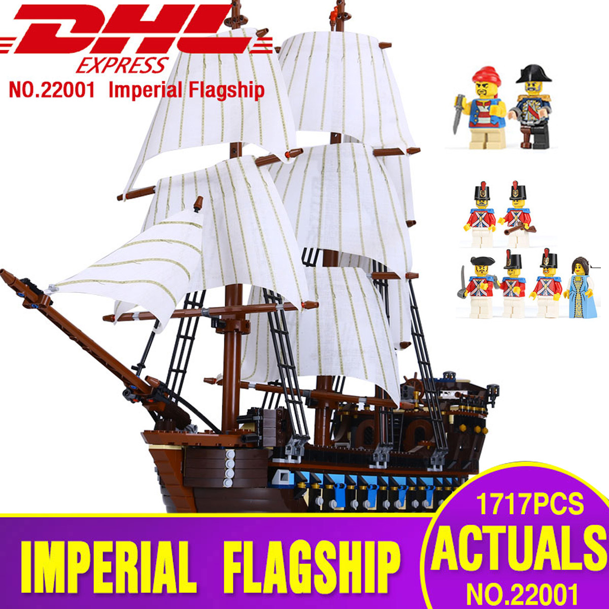 DHL 22001 Pirate Ship warships Model Building Kits Block Briks Toys 1717pcs Compatible With 10210 Children