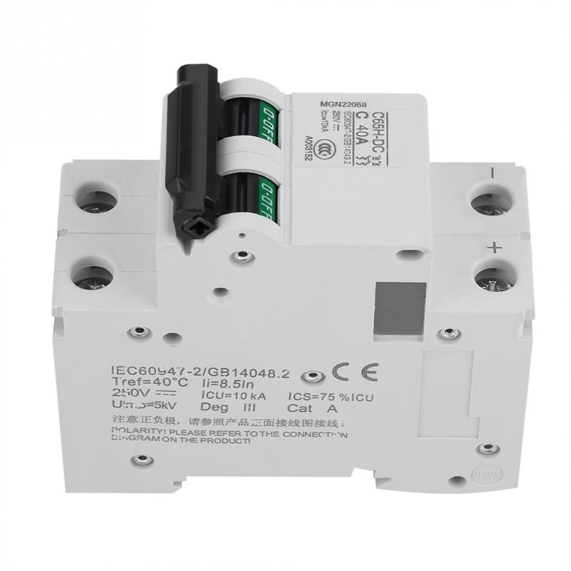 63A 250V DC 2P Low-voltage Miniature Air Circuit Breaker Solar Energy Switch 16A//32A//63A