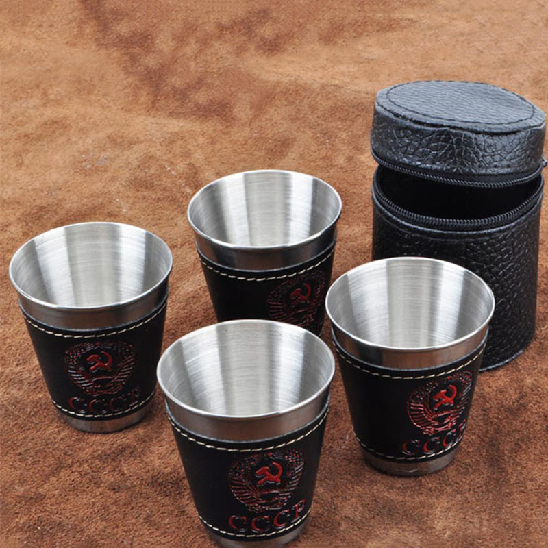 4pcslot Travel Cups Set 70ml Outdoor Camping Tableware for Wine Beer Whiskey Mugs Stainless Steel Cups with Black PU Leather (2)