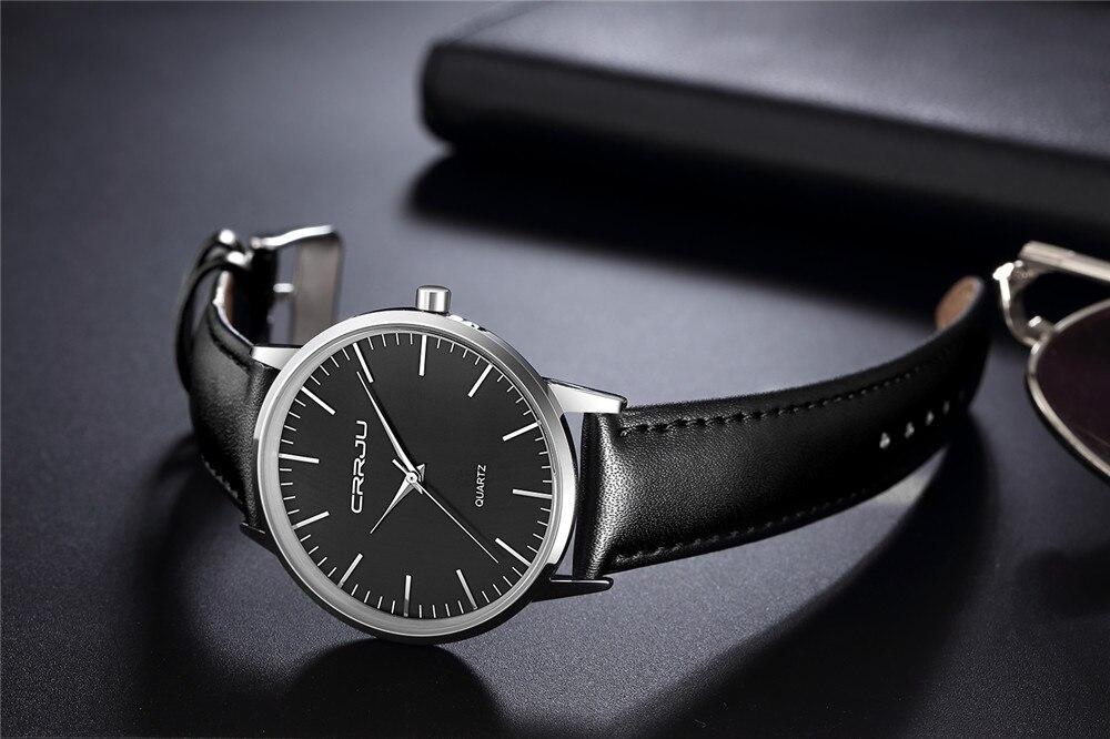 Nieuwe merk zakelijke horloges man lether strp quart horloge