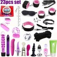 23 Pcs set Vibrator Sex Toys for Woman Adult Games Handcuffs Whip Mouth Gag Rope Metal Butt Plug Bdsm Bondage Set Bead Anal plug