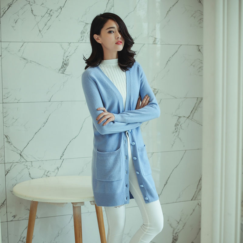2018 Womens 100% Pure Cashmere Cardigan Womens Winter Long Cardigans Knitted Long Sleeves Thick Sweaters Cardigans With Buttons