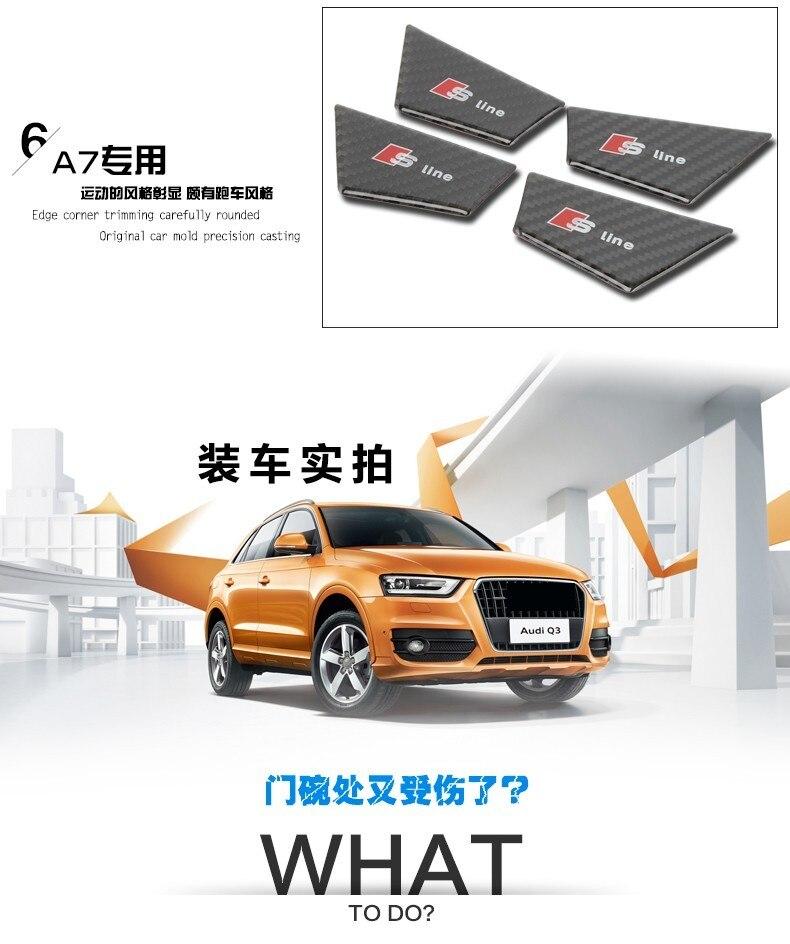 4pcs Carbon Fiber Interior Door Handle Bowl Sline badge Stickers For Audi A3 Q3