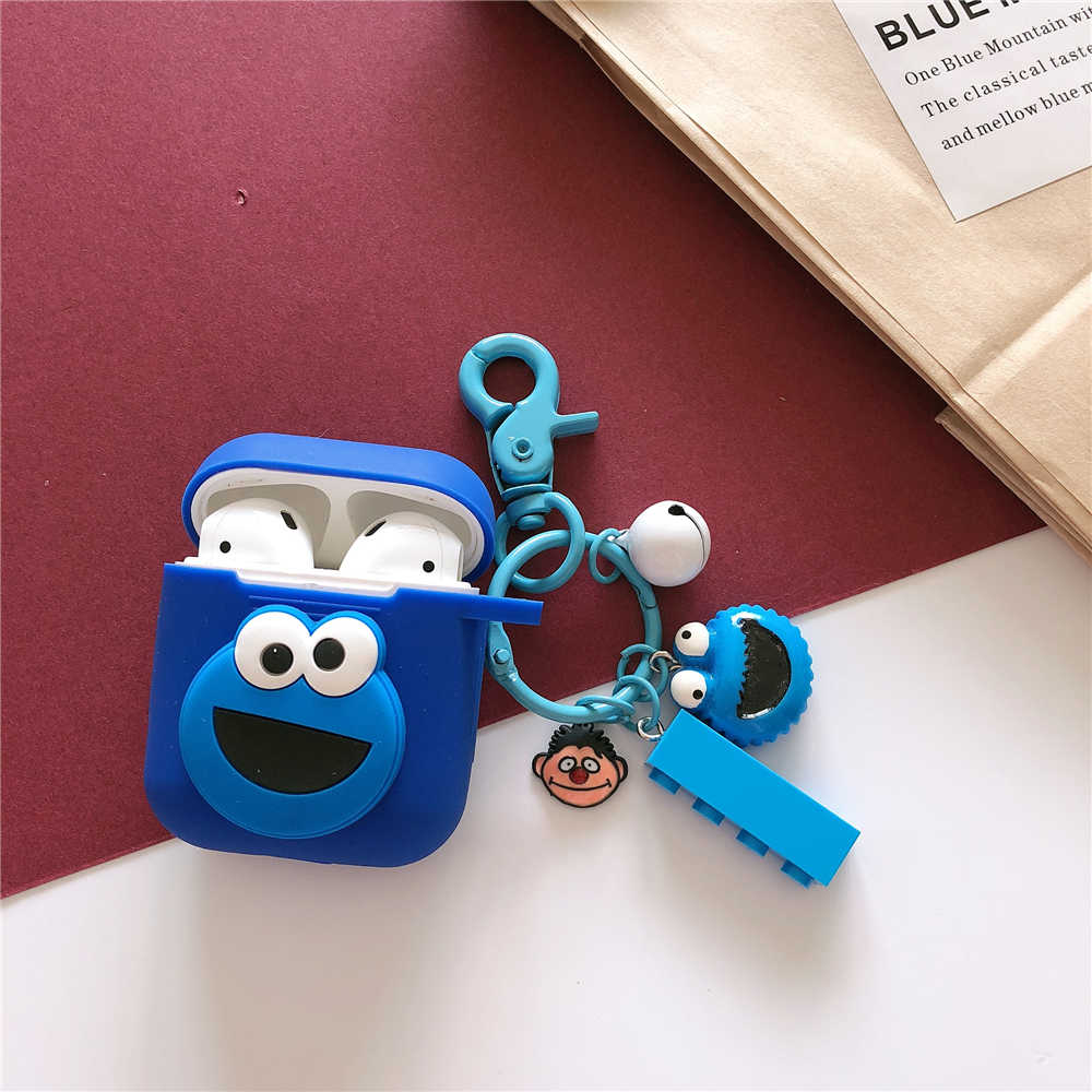 Cartoon Sesame Street ELMO Cute Earphone Case for Apple Wireless Bluetooth Headset Airpods Silicone Cover Air pods 2 Accessories