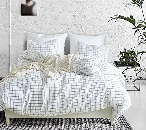 WINLIFE Simple Grid Bedding Set For Boys & Girls Grid Duvet Cover