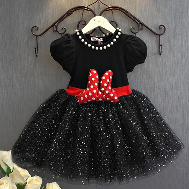 f4fde17a91bd4 Enfants Filles vêtements D été 2017 bébé Fille robe mignon minnie dot fil  princesse robe