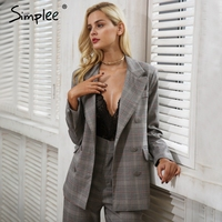 Simplee Casual Grid Women Suits Blazer Lady Office Suits Blazer Female 2017 Autumn Gray Formal Jackets