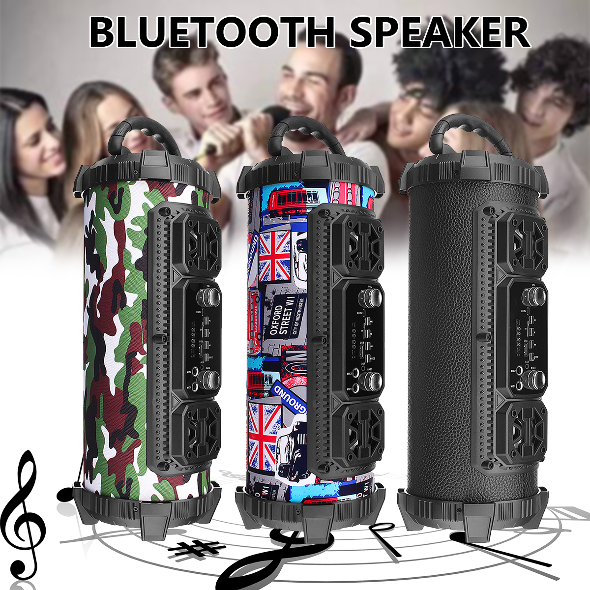 20W Portable Sports Wireless Bluetooth Stereo Subwoofer Speaker Hip Pop Support Microphones Adjustable Bass Outdoor Loundspeaker hip hop portable wireless bluetooth speaker black