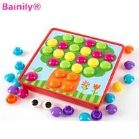 [Bainily] כפתור ילדים צעירים כדי להאיר את צעצוע 3D פאזל DIY 3D ציור מסמר חידת הורה ציפורן פטריות לילדים אינטראקציה