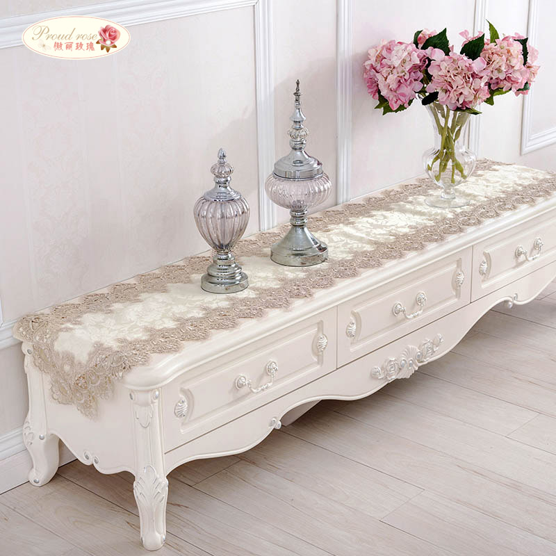 Proud Rose Lace Table Runner Table Flag Tablecloth European Rectangular Table Cloth TV Cabinet Cover Cloth Wedding Decoration in Table Runners from Home Garden