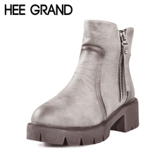 HEE GRAND Winter Ankle Boots Women Warm British Fashion Platform PU Motorcycle Ankle Martin Boots Shoes Woman 3 Colors XWX1964