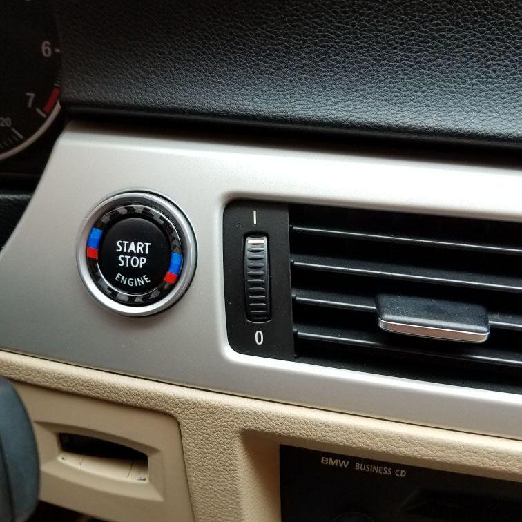 ad63a0f7ffd1 ... For bmw e90 e92 e93 Carbon Fiber Car Engine Start Stop Ring M Stripe  Trim Circle ...