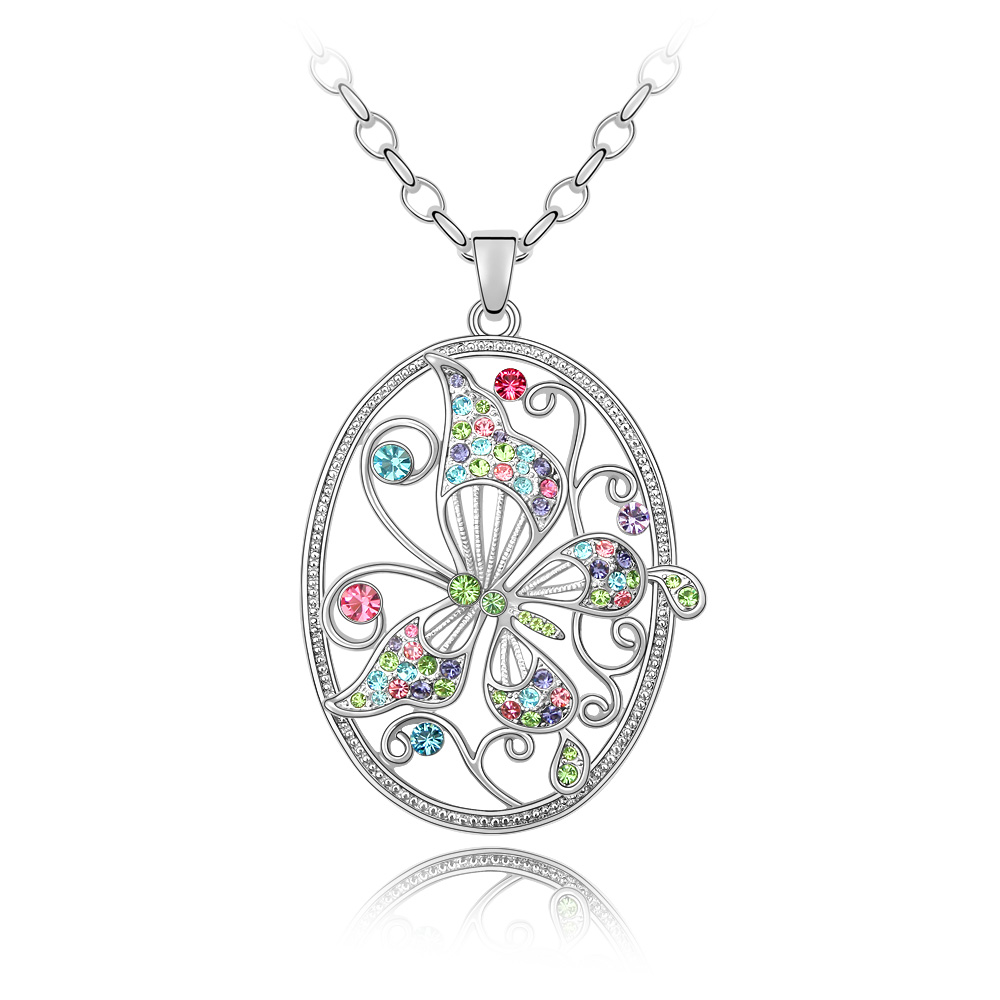 Butterfly Austrian Crystal Pendant Necklace Long Chain Collares Jewelry for Women Gifts