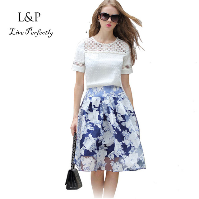 c13ecb32 Two Pieces Set 2015 Summer Women Fashion Short Sleeve White Lace Chiffon  Blouse + Skirt Female Tops Blusas Renda Femininos 792