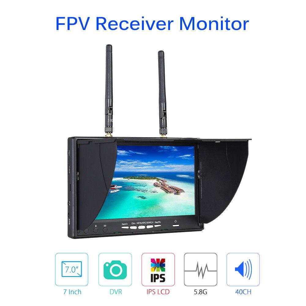 TOMLOV LT-5802S FPV монитор 7 дюймов 5,8 ГГц 40CH двойной разнообразный приемник ips ЖК-дисплей с DVR встроенный аккумулятор для RC Дрон