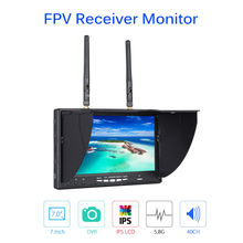 TOMLOV LT-5802S FPV Monitor 7 Inch 5.8Ghz 40CH Dual Diversity Receiver IPS LCD Display With DVR Built-in Battery For RC Drone fpv 3 inch 480 320 display 5 8g 40ch mini fpv goggles build in 3 7v 1200mah battery fpv system for drone
