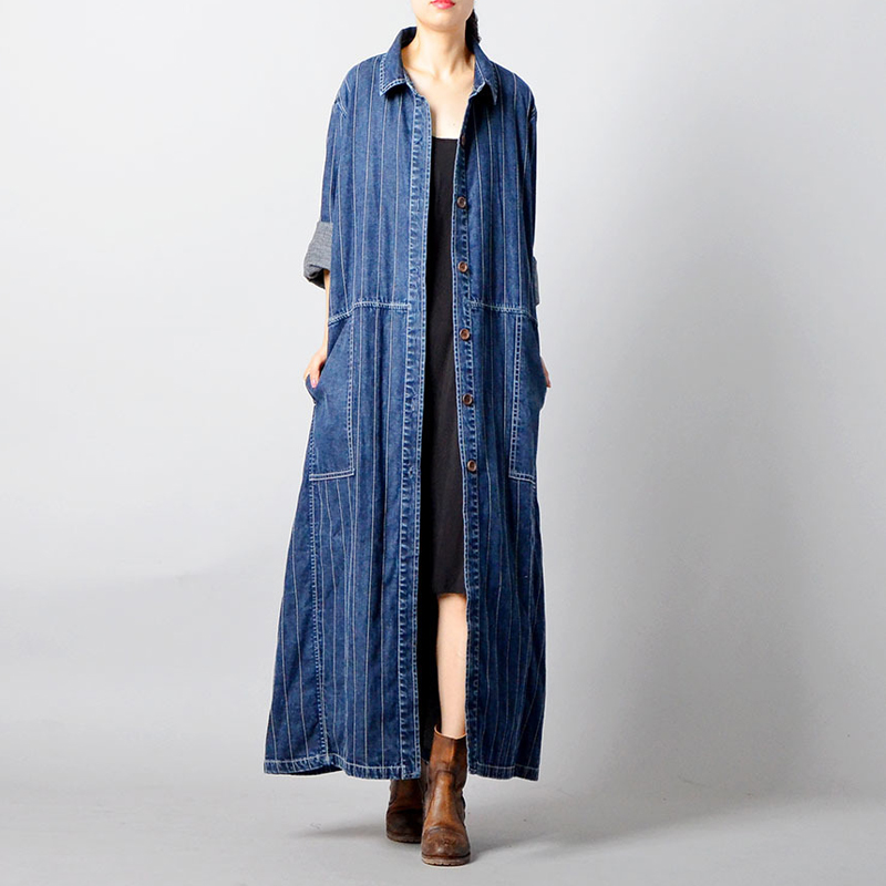 Johnature Women Denim   Trench   Coats Fashion Plus Size Women Clothing 2018 Fall New Pockets Bandage Coat Striped Loose Blue   Trench