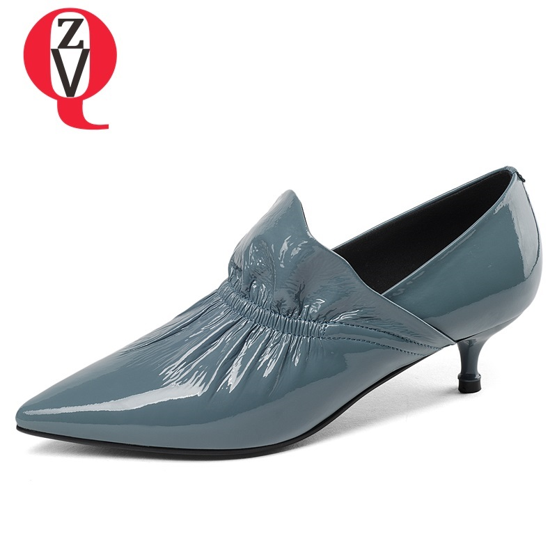 ZVQ 2018 newest genuine leather women shoes med thin heels pointed toe black and blue slip-on shallow fashion party ladies pumps цена