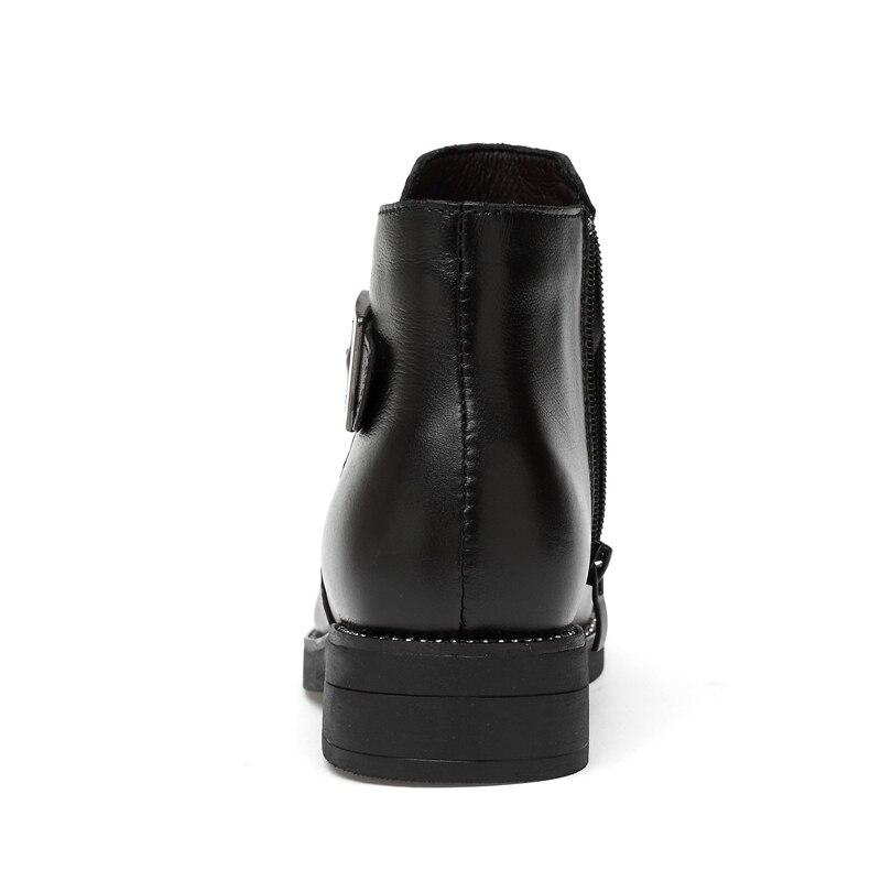 Con Genuino Zapatos Black Ceyaneao Black Piel Plush Botas Otoño Invierno Caliente Cuero La Hembra De Casuales Nieve without Cremallera Mujer TT6Ipq