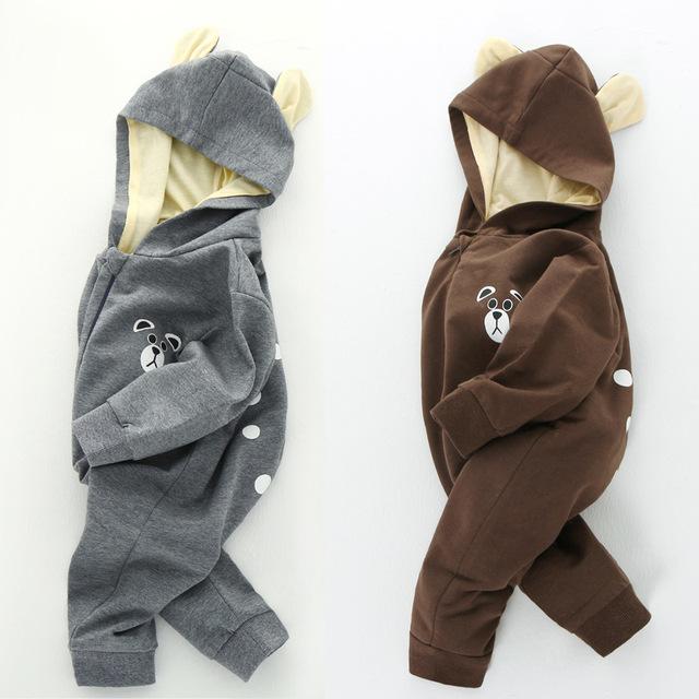2017 moda primavera romper bebê recém-nascido de grau a de algodão macacão meninas meninos urso com capuz macacão roupa das crianças