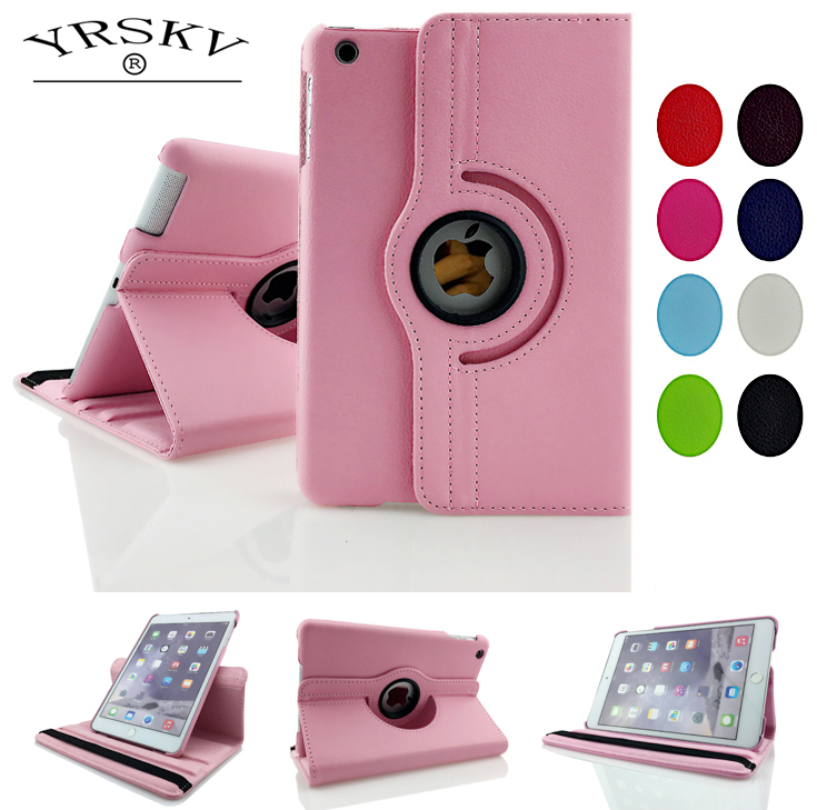 Case for ipad mini 1 mini 2 mini 3  YRSKV 360 pattern PU Leather Rotating Smart Stand Tablet Case for iPad mini 1/2/3 for ipad 2 3 4 case 360 degrees rotating pu leather cover for apple ipad 2 3 4 stand holder cases smart tablet a1395 a1396 a1430