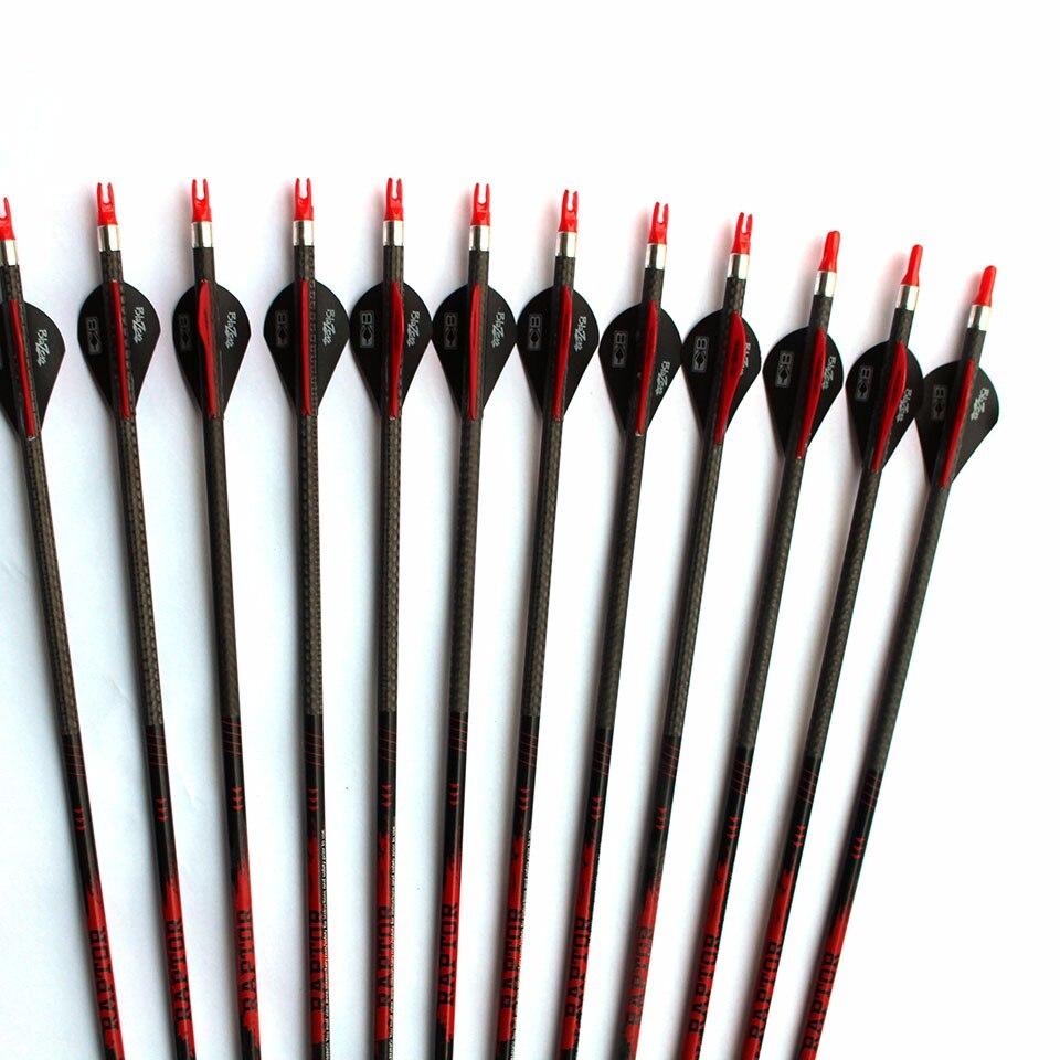 6pcs 12pcs lot Archery 3K Weave Pure Carbon Arrow ID6 2mm Spine 340 32 Shaft With