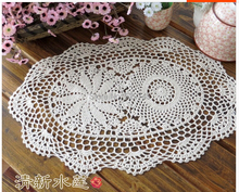 Handmade 30X45CM Crochet flowers Oval tablecloths Cotton placemats Coaster Mats Decorative Cover cloth Pads ( 2PCS/LOT )
