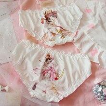 Милые женские трусики Sakura с рисунком из аниме, молочные шелковые трусы с бантиками для девочек, женское нижнее белье на каждый день, цвет белый
