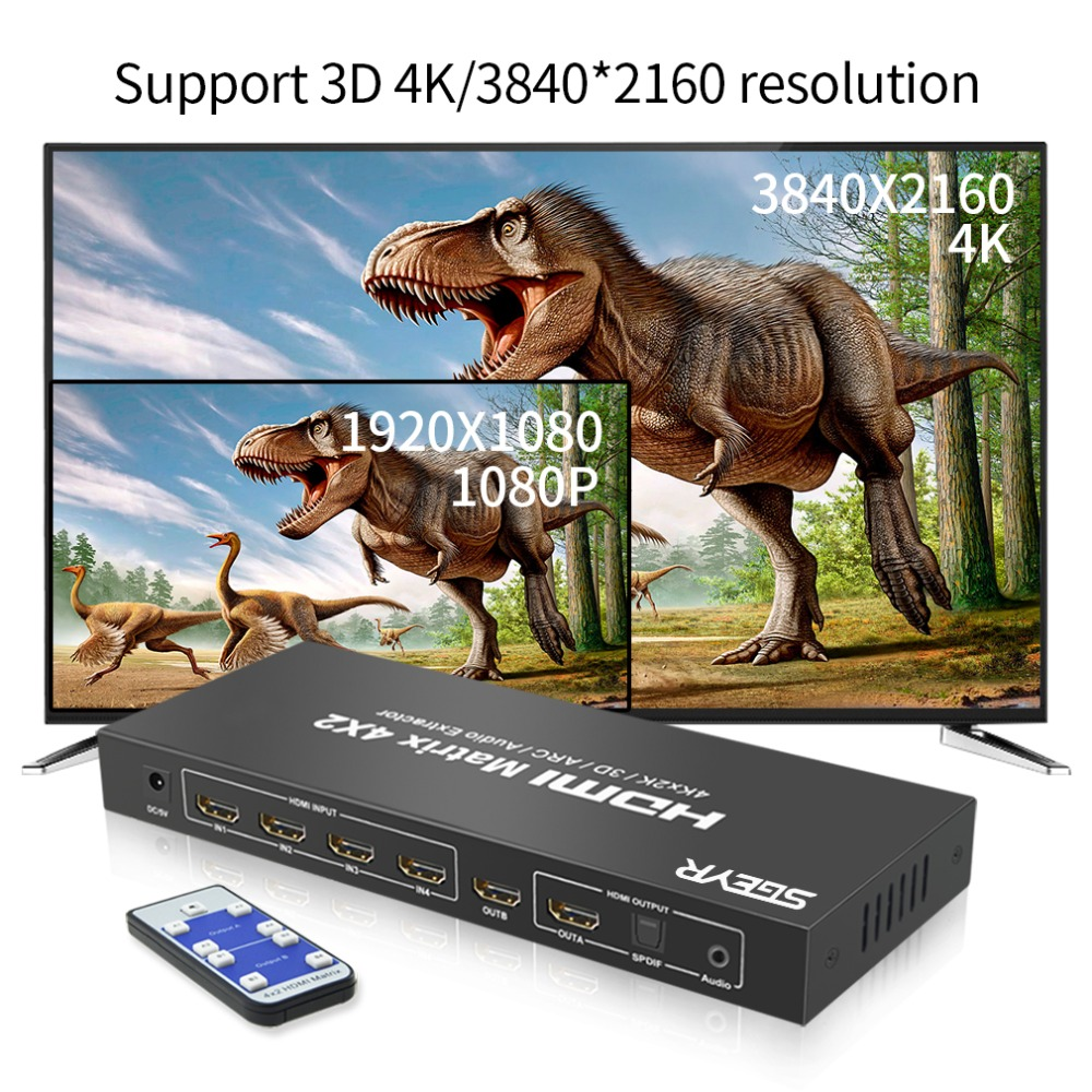 HDMI Matrix SGEYR 4x2 HDMI Matrix Switch Splitter 4Kx2K 4 in 2 Out HDMI Switcher with 3.5mm Audio Extractor+Optical