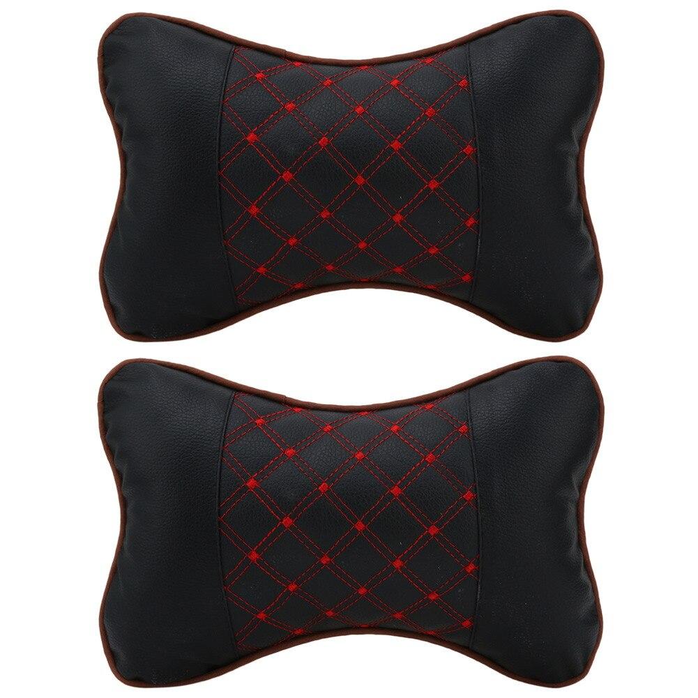 Rest-Cushion Neck-Pillow Leather Headrest Auto-Interior-Accessories Gadget Auto-Car 2pcs