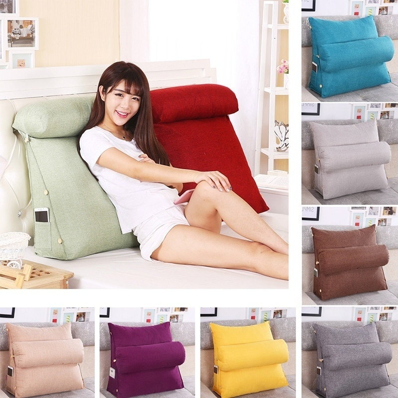 Backrest Pillow Bed Rest Pillow Soft Plush Back Support Reading TV Bed Cushion