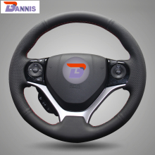 BANNIS Black Artificial Leather DIY Hand stitched Steering Wheel Cover for Honda Civic 2012 2014