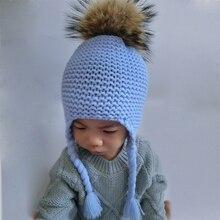 2016 Mode Enfants D'hiver Fourrure De Raton Laveur Chapeaux Pour Enfants Filles Tricoté Laine Earflap Bonnets Cap Crochet Bébé Chapeau