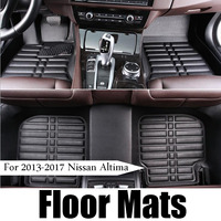 1set Car Floor Mat Black Waterproof Front & Rear Leather Carpet for Nissan Altima 2017 2016 2015 2014 2013 Interior Accessories