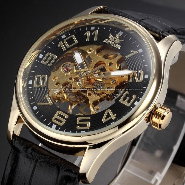 c58b23eac0f Montre Homme sewor marca negro esqueleto reloj mecánico hombres de cuero para  hombre relojes del Relogio