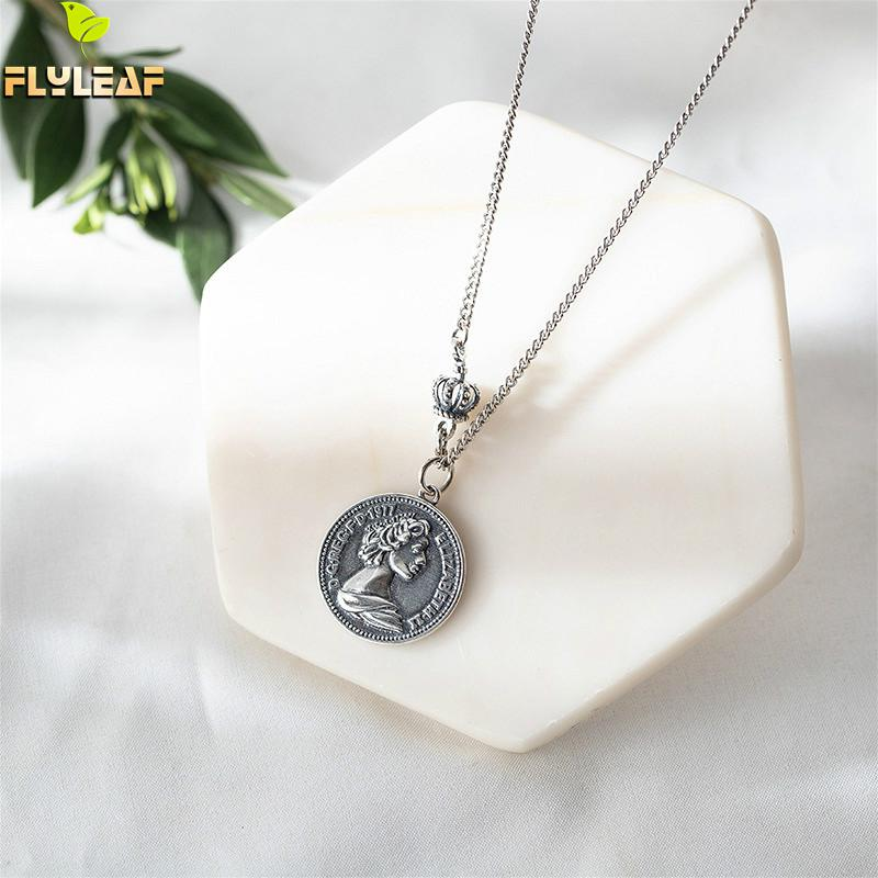 Flyleaf 925 Sterling Silver Necklace Women Vintage Crown Coin Fashion Chain Fine Jewelry Simple Necklaces & Pendants Quality