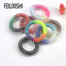 5PCS/Bag 5CM Rainbow Print Telephone Wire Hair Band Elastic Bands for Women Fashion Jewelry Headgear Girls Headwear