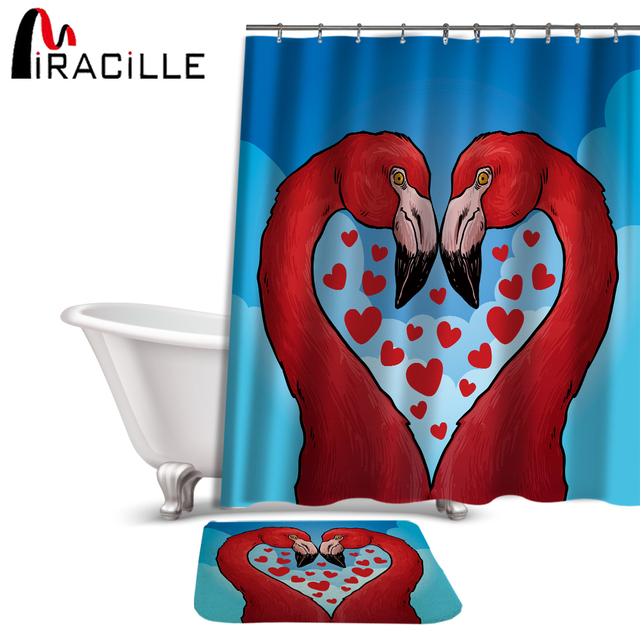 Miracille Pink Flamingo Printed Bathroom Sets Shower Curtain And Slide Proof Rug Polyester Bath Waterproof