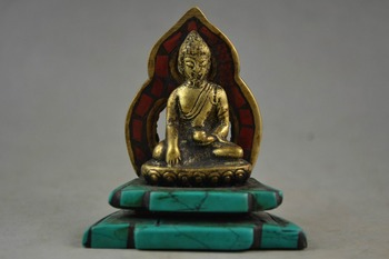 Rare Old Copper & Turquoise Carving A Tibet Buddha Prayer Peace Showily Statue