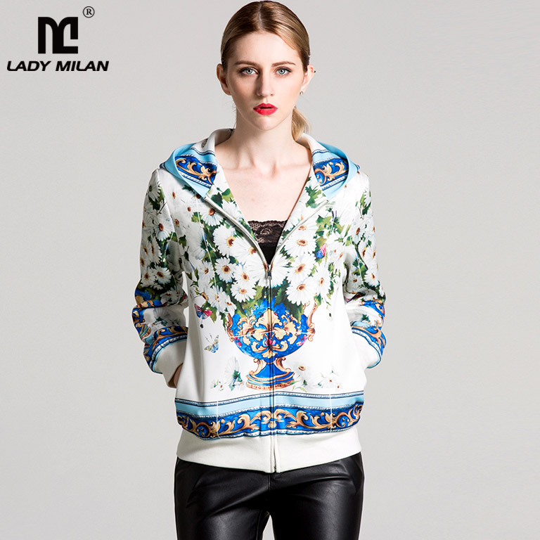 New Arrival 2018 Spring Womens Long Sleeves Floral Printed Zipper Closure Hooded Fashion Jackets Outerwear