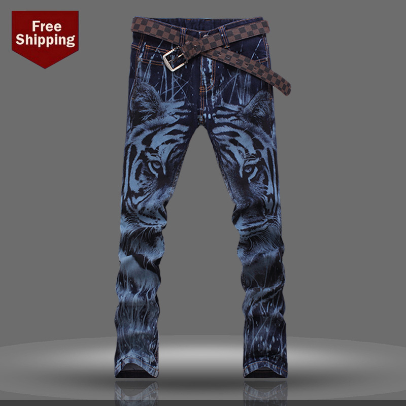 2014 Men's clothing Slim jeans skinny pants Tiger colored drawing flower water wash male Trousers - Flower store